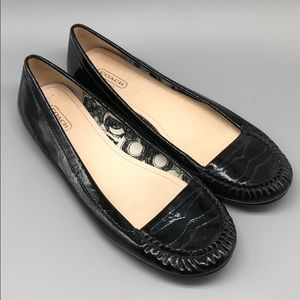 Coach black patent leather Gretchen loafers